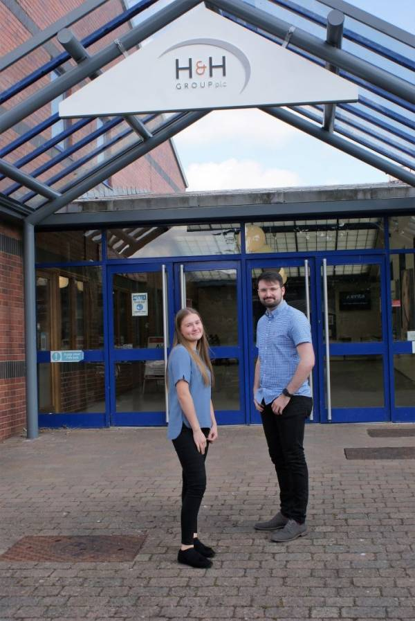 Apprentices Victoria Twentyman and Tom McGaffin who have joined H&H Insurance Brokers