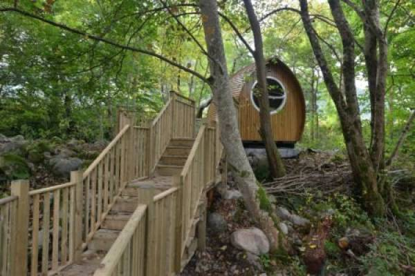 Glamping pods in woods